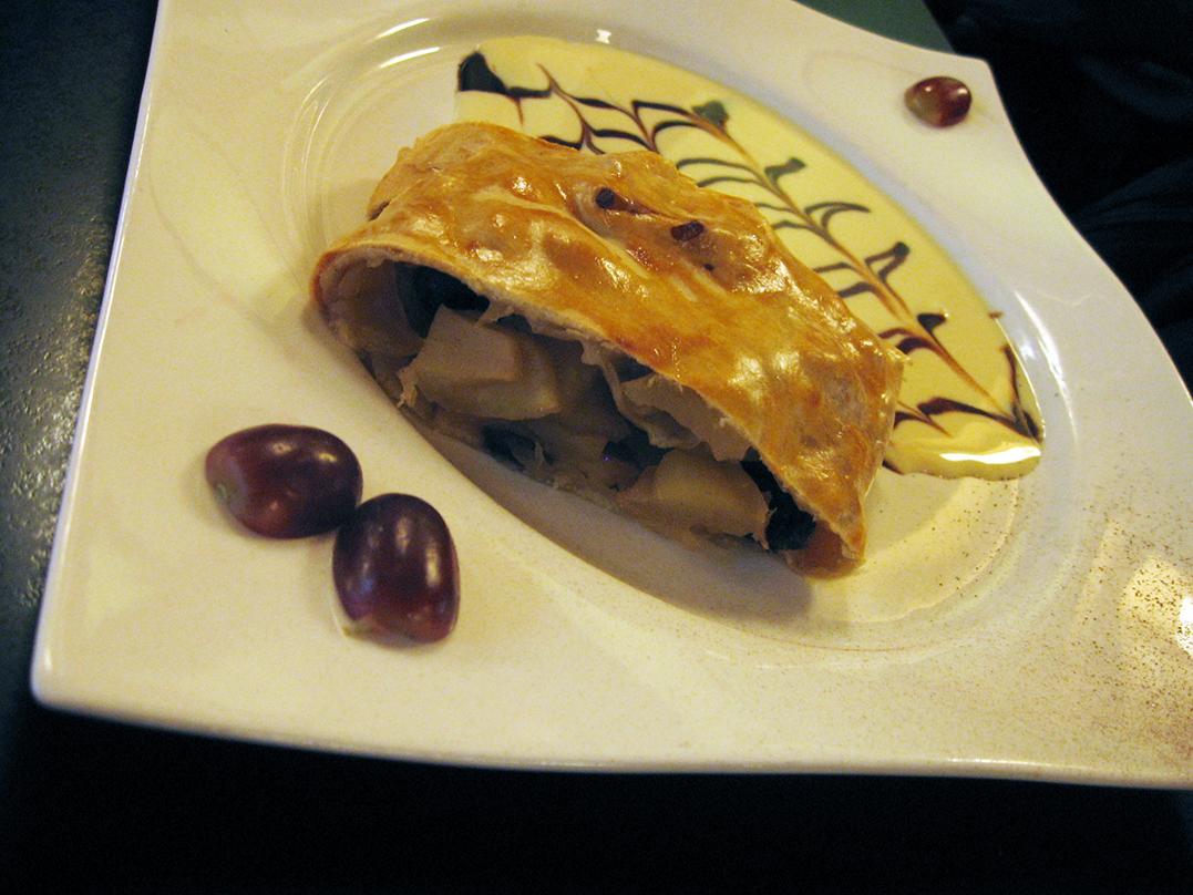 Thin pastry and slightly sour, aromatic apples make for good <em>Apfelstrudel</em>. - <em>by SL Wong</em>