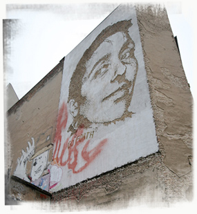 Using his trademark carving technique, Vhils featured one half of creative Berlin street and performance artists Various & Gould. - by SL Wong