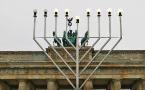 This menorah is the largest public menorah in Europe. - by SL Wong